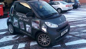 Philip Friel Dentistry Smart Car Chrome and Matt Grey printed Wrap