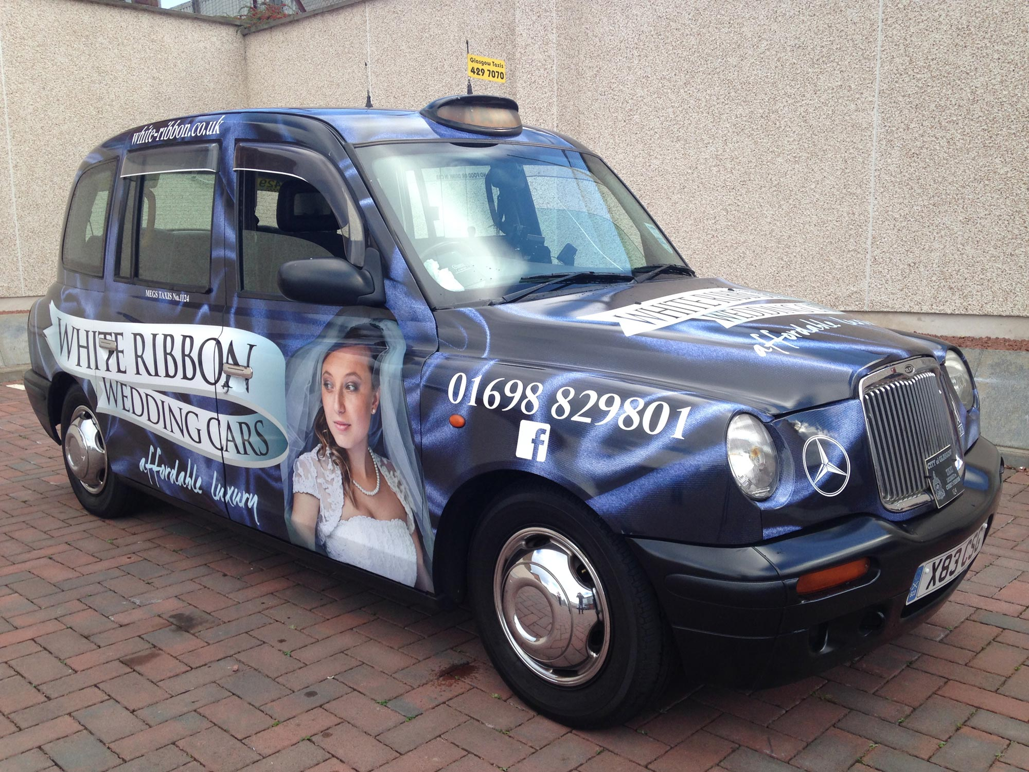 White Ribbon Wedding Cars Taxi Wrap