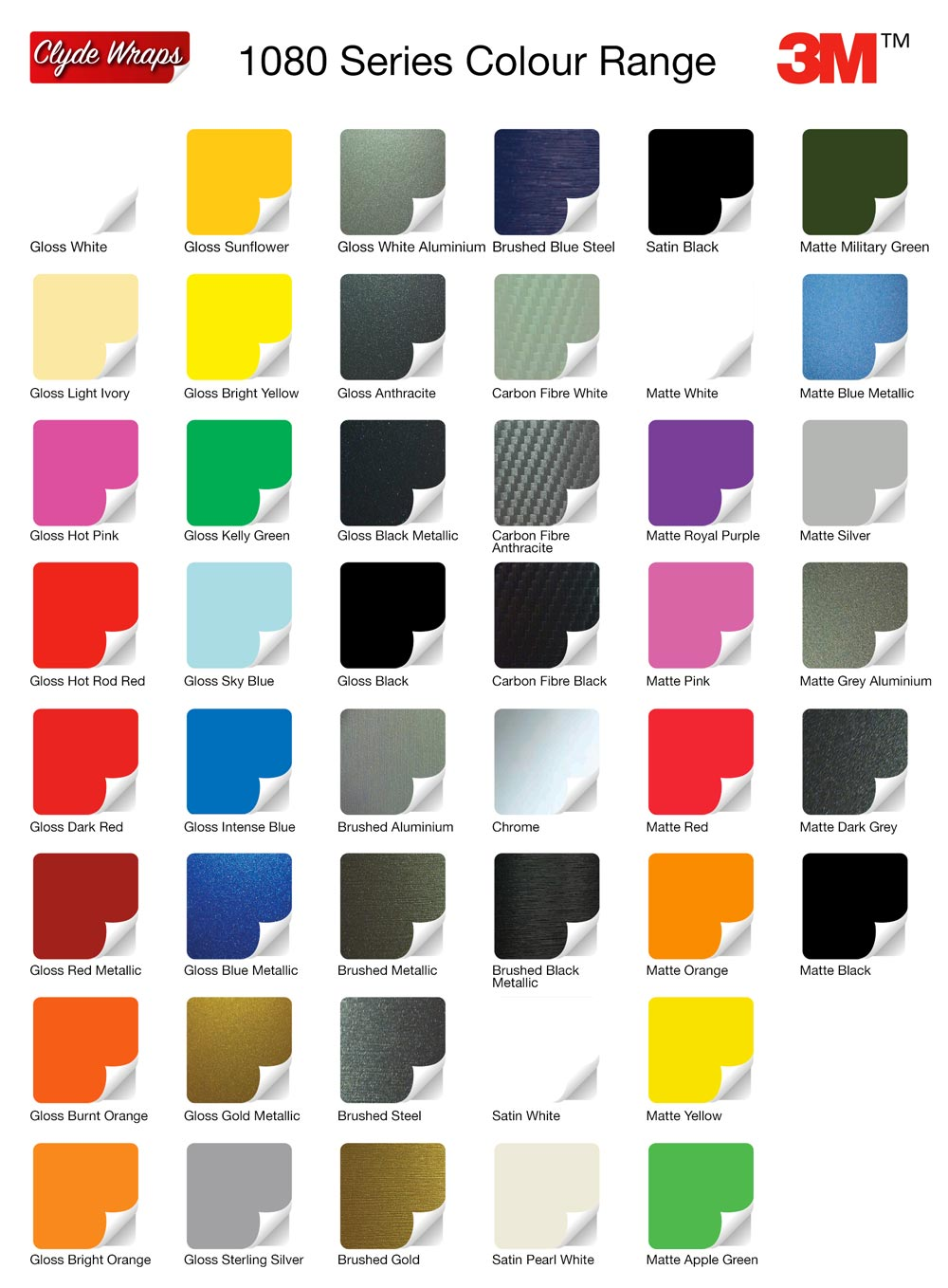 Colour change vinyl wraps clyde wraps 3m colour chart geenschuldenfo Image collections
