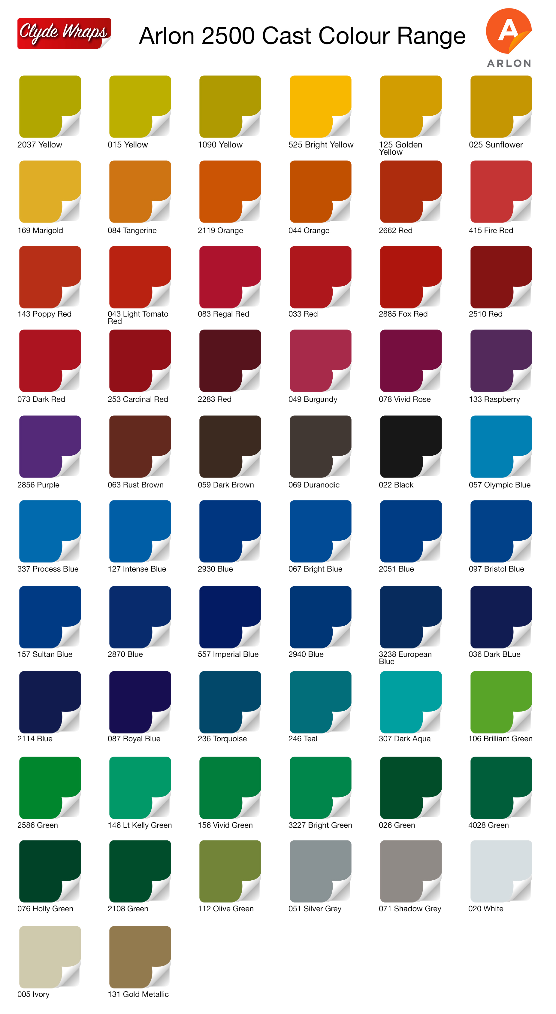 Arlon Vinyl Colours