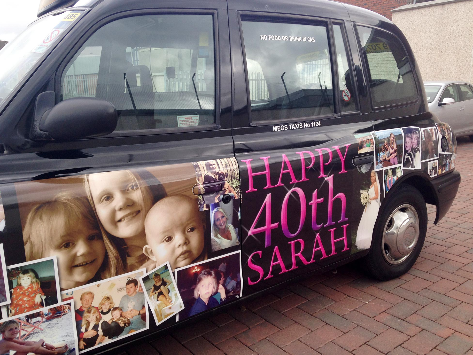 One-off Birthday Message On Taxi Sides (Hired Out For The Day As A Surprise!)