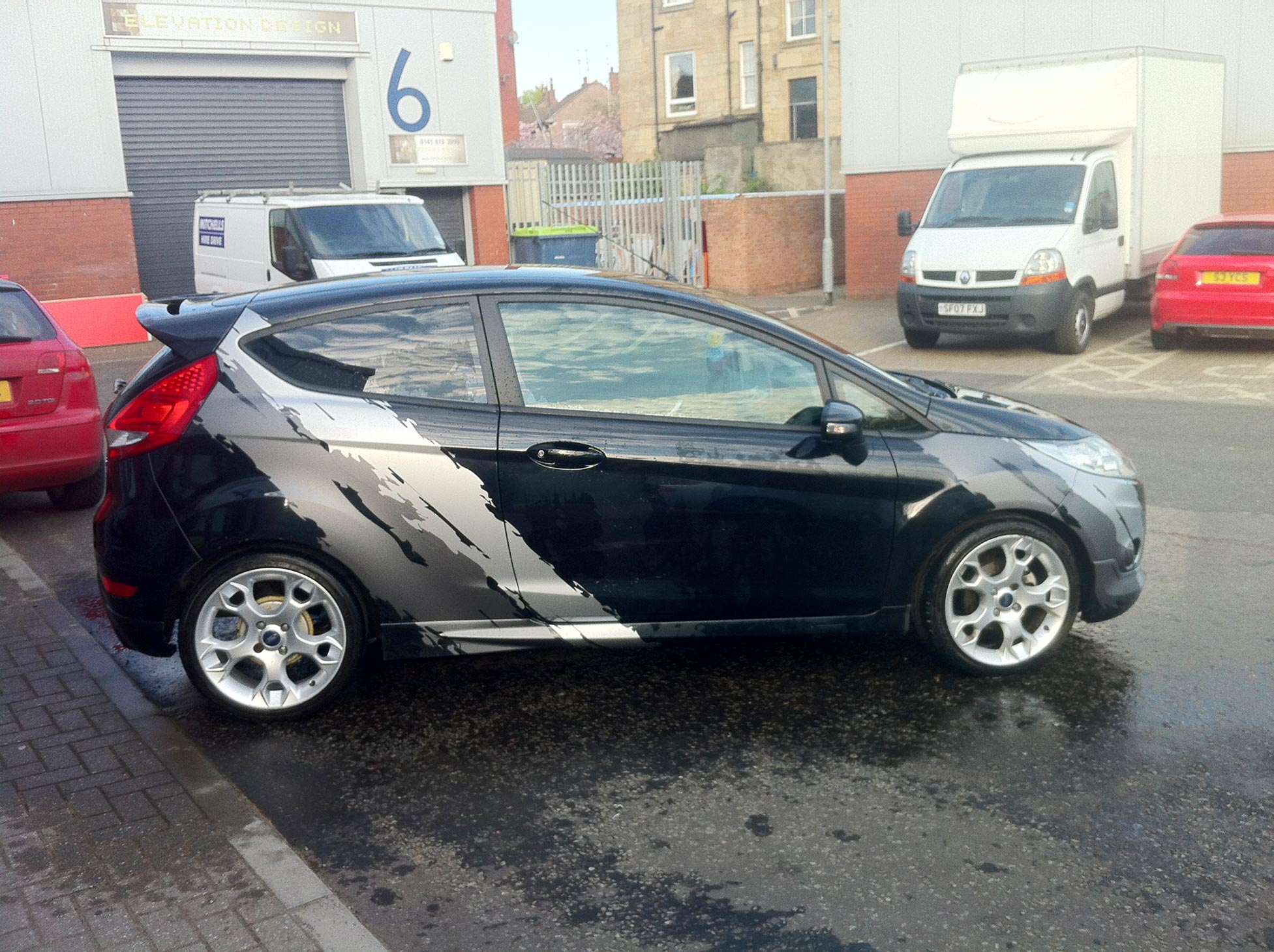 Ford Fiesta ST Custom 'torn' Graphics In Matte Metallic Grey And Silver
