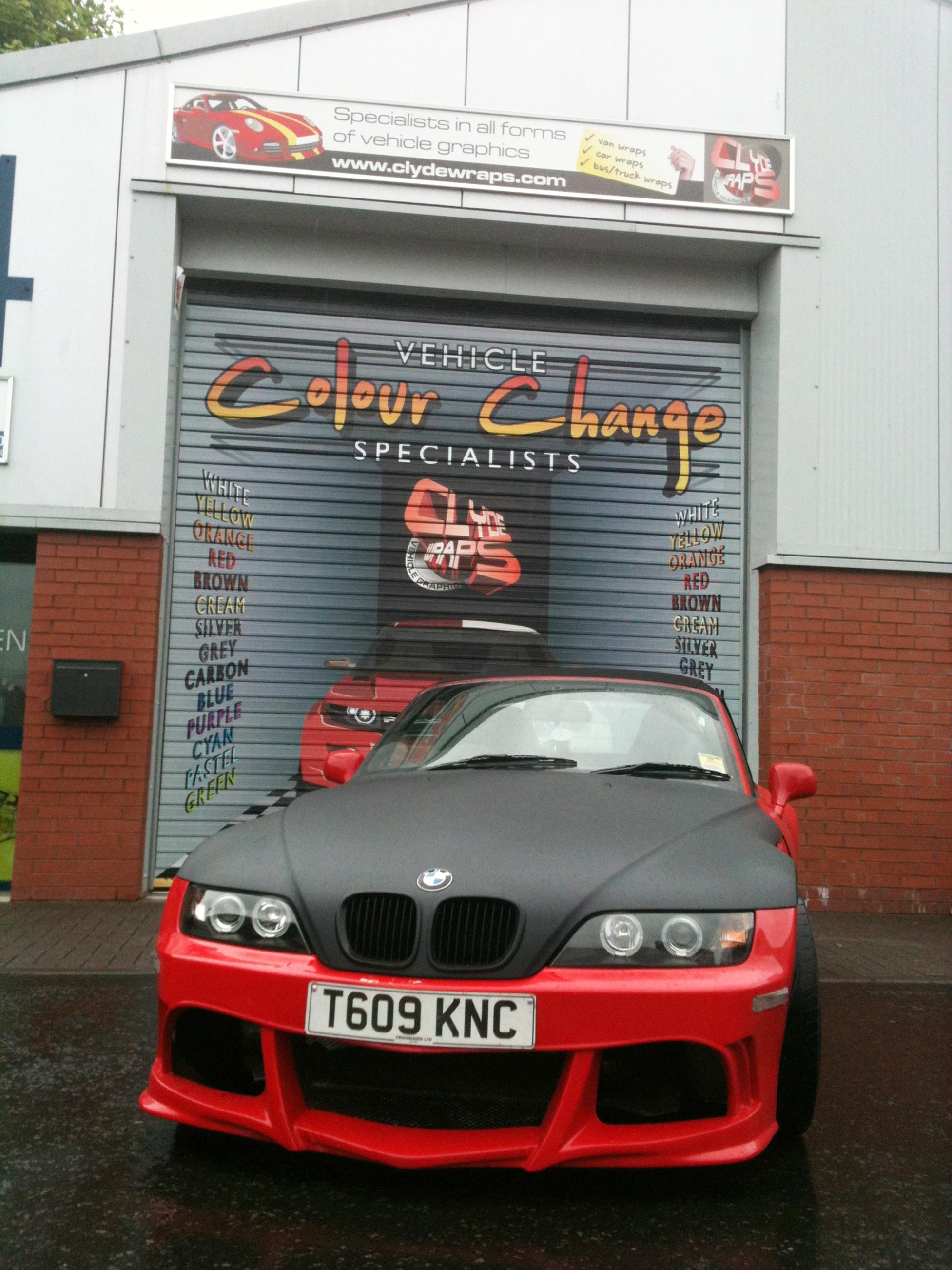 BMW Z3M With Matte Black Bonnet Vinyl Wrap
