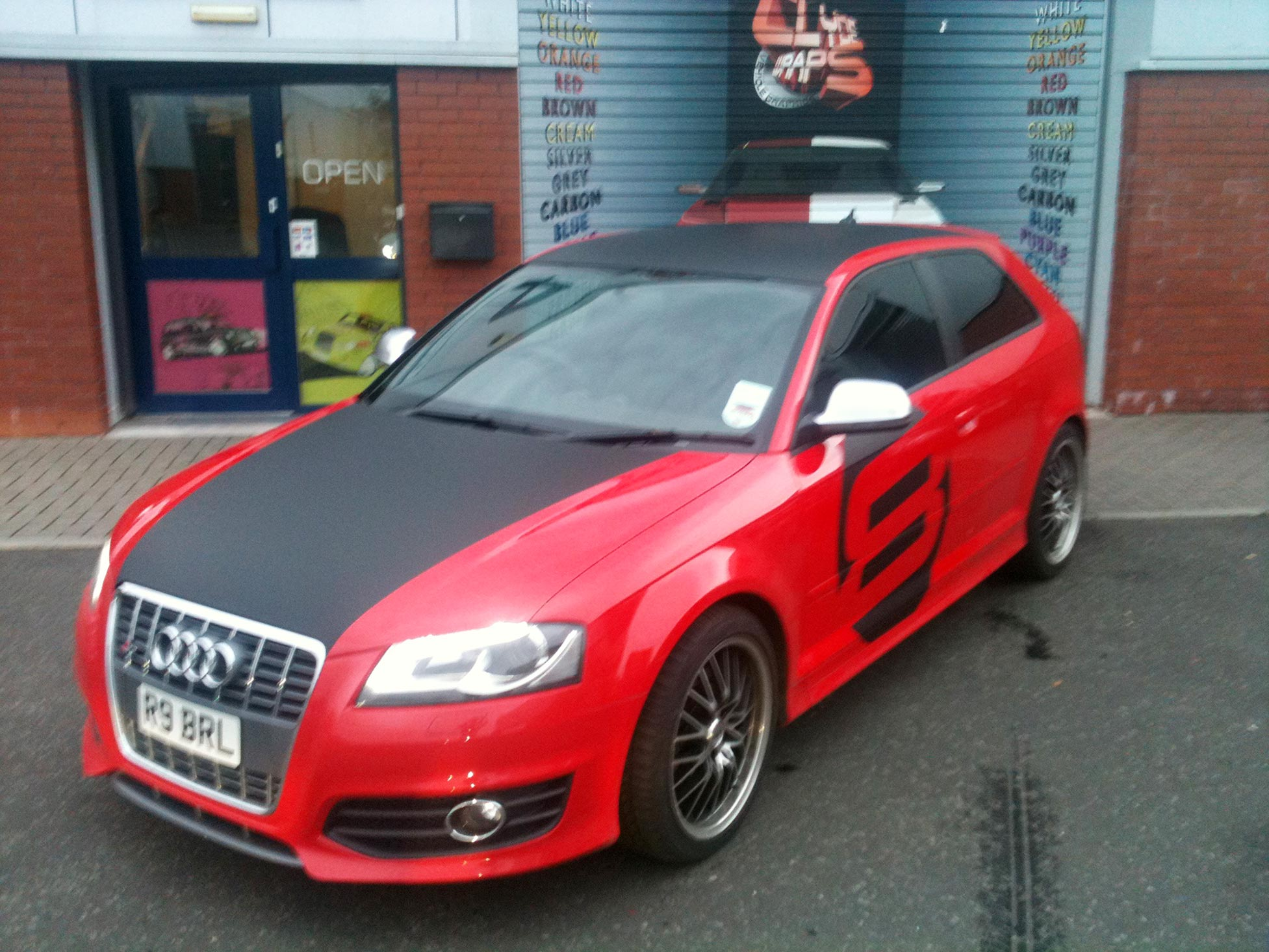 Matte Black Vinyl Graphics And Partial Wrap On Audi S3